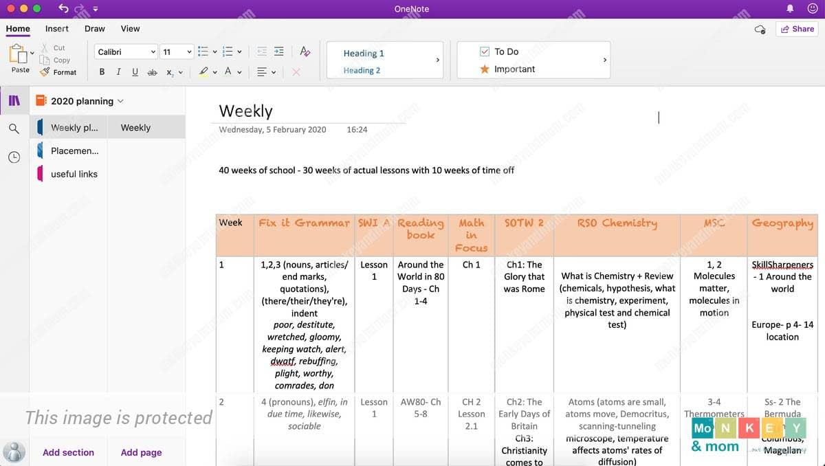 lesson planning in onenote